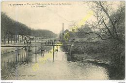 29. QUIMPER . Vue Sur L'Odet Prise Du Pont De La Préfecture . Les Passerelles . - Quimper