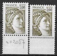 France Variété 1979 - Sabine De Gandon - Y&T 2057 ** Neuf Luxe (voir Descriptif) +2 Scans - Abarten Und Kuriositäten