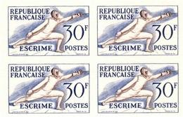 France 962 Bloc De 4 Non Dentelé Papier Blanc Carton Réimpression Officielle Du Musée De La Poste. Escrime, Fencing - Proofs