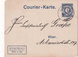 ALLEMAGNE 1897  ENTIER POSTAL/GANZSACHE/POSTAL STATIONERY COURIER KARTE PRIVAT POST - Poste Privée
