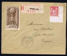 France Registered Cover 1925 Yv 216 Exposition Philatelique De Paris Coner Piece - Storia Postale