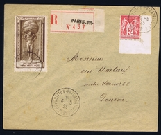 France Registered Cover 1925 Yv 216 Exposition Philatelique De Paris Coner Piece - Poststempel (Briefe)