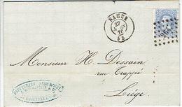 N°31 Sur LAC Oblit. LP264 NAMUR Du 27.3.0870 > LIEGE - Cachet Privé PAPETERIES NAMUROISES E. WIELMAECKER à SAINT-SERVAIS - 1869-1883 Léopold II