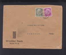 Dt. Reich Brief Dresdner Bank Lochungen Nach Persien Iran Teheran - Germania