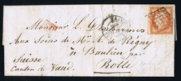 France Lettre  Yv 5 1850 Paris A Suisse Rolle PD In Rouge - Marcophilie (Lettres)