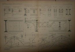 Plan D'assemblages De Fers à Planchers, De Ponts Et De Charpentes En Fer.1884. - Obras Públicas