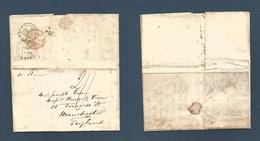 CHILE. 1852 (2 April) Valparaiso - UK, Manchester (22 June) EL Full Text Reverso Via British Post Office At CALLAO (Perú - Chile