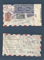 PANAMA. 1942 (11 July) Panama - USA, LA, Ca. Registered Reverse Multifkd Envelope, Censored + Official Seal. VF. - Panama
