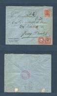 Argentina - XX. 1909 (15 June) Buenos Aires - Fray Bentos, Uruguay. Fkd Env + Insuff + Taxed + Arrival (x2) Uruguay Post - Argentina