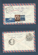PALESTINE. 1960 (21 July) Gaza - Alexandria, Egypt. Via Donane. Registered Airmail Envelope, Overprinted Issue. Fine. - Palestine