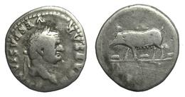 [H] +++ AR Denarius / Denier - TITVS For VESPASIAN -- RIC 220 -- Sow With Three Pigles +++ - 2. Die Flavische Dynastie (69 / 96)