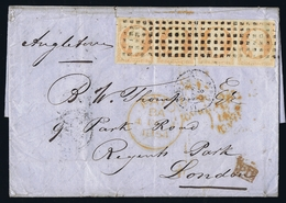 France Lettre 2 X 2  Yv 16  Grosspoint  1854 To London - Poststempel (Briefe)