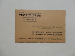 Carte De Visite Du Tropic Club 10, Rue Lanneau à Paris Véme. - Cartoncini Da Visita