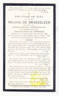 DP Melanie De Braekeleer ° Liedekerke 1861 † Merchtem 1925 X JB. Maerschalck Xx C. Lombaert - Devotion Images