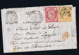 France Lettre Yv 138 + 57 1873 Paris -> Egypt  Part Letter PD In Rouge - 1849-1876: Periodo Classico