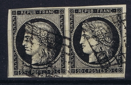 France Pair Yv 3 Grille Belles Marges  1849 - 1849-1850 Cérès