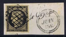 France Lettre Yv 3 Grille + Block Dateur B  Fragment Belles Marges  1849 - 1849-1850 Cérès