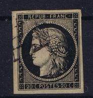 France Yv 3 B Grille  Ne Pas Plie Not Folded  Belles Marges - 1849-1850 Cérès