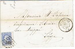 N°31 Sur LAC Oblit. LP329 SAINT-TROND Du 30.4.1870 Vers LIEGE - 1884-1891 Leopold II