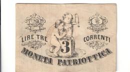 Venezia 3 Lire Moneta Patriottica 1848 Scritte Al R.  LOTTO 2524 - [ 4] Voorlopige Uitgaven