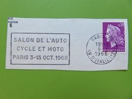 Flamme - Salon Auto Cycle Et Moto Paris Octobre 1968 - Cachet Paris Avenue D'Italie - Timbre YT N° 1536 (M. De Cheffer) - Postmark Collection (Covers)