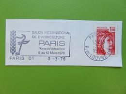 Flamme - Salon Agriculture Paris - Cachet Rue Du Louvre - Timbre YT N° 1972 (Sabine) - 1978 - Postmark Collection (Covers)