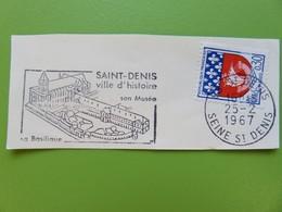 Flamme - Basilique Saint-Denis - Cachet St Denis - Timbre YT N° 1354B (Armoiries De Paris) - 1967 - Postmark Collection (Covers)