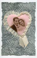 VOEUX De MARIAGE 0067 Ajoutis Collages Portrait  Couple  De Mariés Dentelle Tissy Et Ruban Blanc - Fêtes - Voeux
