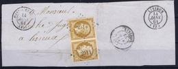 France Paire Yv 13  Fragment  PC 2514  Pont-L'Eveque Calvados Belles Marges - 1853-1860 Napoléon III