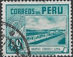 PERU 1938 Labourers Houses At Lima - 50c. - Blue FU (Waterlow Printing) - Peru