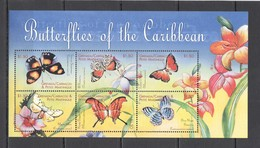 R1356 GRENADA CARRIACOU FLORA & FAUNA FLOWERS BUTTERFLIES OF THE CARIBBEAN 1KB MNH - Papillons