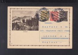 Czechoslovakia Stationery Tatra 1931 To London (2) - Postal Stationery