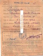 15/04/1946 Carte électeur MADELEINE POUJADE Poujols/Orb 34 - ARLES 13 - Old Paper