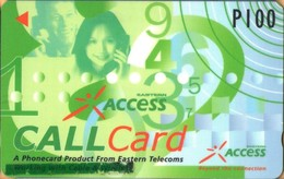 """Philippines - Eastern Telecom, GPT, 328PETA, Sticker Over """"Working With Cable & Wireless"""", Access Call, %20.000ex, Used - Filippine"""