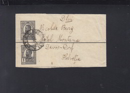Romania Wrapper 1912 To Davos - Postal Stationery