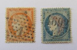 France - 2 Timbres Cérès 40c YT N°38 Ob. Etoile Chiffrée 1 + 25c YT N°60A Ob. GC 4692 (Baixas, Pyrénées-Orientales) - Collections