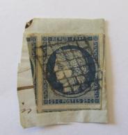 France - Timbre Cérès 25c Non-dentelé YT N°4 - Oblitéré Grille - Voisin à L'Ouest - Sur Fragment - 1849-1850 Ceres