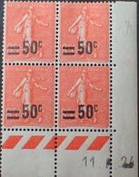 R1934/151 - 1924 - TYPE SEMEUSE LIGNEE Avec SURCHARGE - N°221 TIMBRES NEUFS** CdF Daté - ....-1929