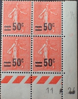 R1934/151 - 1924 - TYPE SEMEUSE LIGNEE Avec SURCHARGE - N°221 TIMBRES NEUFS** CdF Daté - Dated Corners