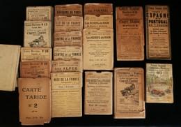 Lot 19 Cartes Routières TARIDE Début XXe à 1930 + Guide Taride Promenade Autour De Paris - Cartes Routières
