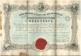 Részvény. Rimamurány Völgyi Vas Mű Egyesület 417-es  Számú Részvénye. 1852. 290 X 430 Mm Méretű Litografált Lap, Sarkaib - Zonder Classificatie