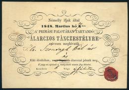 """1848. 03.07. Meghívó """"Álarczos Táncestélyre"""" Szontagh Pál (1820-1904  Főrendiház Tagja, Képviselőházi Alelnök, Belső Tit - Oude Documenten"""