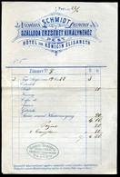 BUDAPEST 1877. Schmidt Testvérek Szálloda Erzsébet Királynéhez, Fejléces,céges Számla  /   Decorative Letterhead Bill Qu - Zonder Classificatie