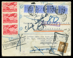 BUDAPEST 1939. 04.19. Igen érdekes Levél, Már érvénytelen Repülő Bélyegekkel Southamptonba , Hajóra Küldve, Visszaküldve - Hongarije