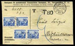 BUDAPEST 1956. Vámosztály, Portóköteles értesítő Csomagról , 80f Portó Bélyegzéssel Rétközberencsre Küldve, 4*20f Illeté - Hongarije