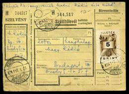 1956. Szállítólevé, 5Ft Okmánybélyeggel Bérmentesítve, Kivésett Mozgóposta Bélyegzéssel A Magyar Rádióba Küldve, Ritka V - Hongarije