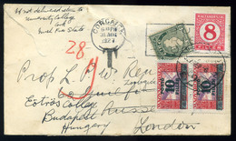 1927. Levél Írországból Londonba Küldve, Továbbküldve Budapestre, Vegyes Portózással - 1922-37 Ierse Vrijstaat