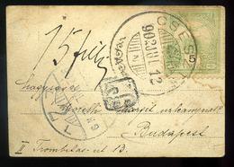 CSESZTE 1902. Mini Képeslap Budapestre Küldve 15f Portózással - Hongarije