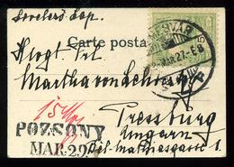 TEMESVÁR 1902. Mini Képeslap Pozsonyba Küldve , Ritka Pozsonyi Portó Bélyegzéssel! - Hongarije