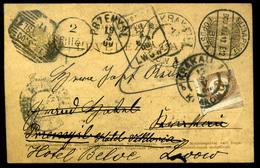 BUDAPEST 1900. 4f Díjjegyes Levlap Vándorlása Lengyel Területeken ,többszörös Utánküldéssel, Portózással. Látványos Dara - Hongarije